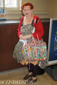 Lynn Yaeger in a red vintage cardigan