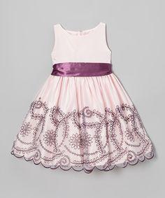 Light Pink & Purple Embroidered Floral Dress - Toddler & Girls