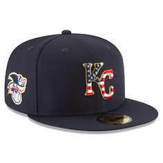 16cb2b57d52 Men s Kansas City Royals New Era Navy 2018 Stars   Stripes 4th of July  On-Field 59FIFTY Fitted Hat