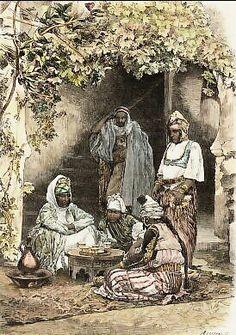 Algerie -Famille Arabe De Tlemcen. Gravure sur bois, gravée par C. Bertrand d´après M. Lancelot. 1886.  Aquarellée à la main.