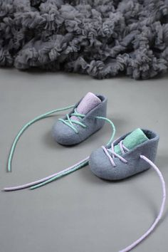 Gray merino baby booties Mint and twilight booties Felted baby booties Felted crib shoes Soft booties for baby girl Baby shower gift