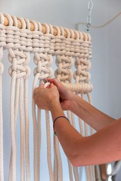 pinned by Macrame on a large scale by Sally England - Fibre Artist - DIY and Crafts Macrame Projects, Craft Projects, Diy And Crafts, Arts And Crafts, Macrame Curtain, Ideias Diy, Macrame Knots, How To Macrame, Weaving