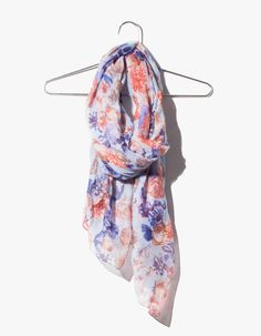 Washed naïf floral print neck scarf