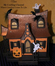 """Silhouette Challenges Ch# 18 """"Holiday Home Decor"""" Mid Posting (Bewitched Cabin) Halloween 20, Halloween Crafts, Haunted Forest, Papel Scrapbook, Glitter Houses, Svg Cuts, Cutting Files, Channel, Challenges"""