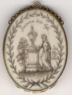 "sepia painting on ivory accented with hairwork...inscribed ""I mourn her loss""   circa 1820-40 or possibly as early as 1780-1820"