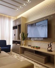 Trendy home sala grande tvs Living Room Tv Unit, New Living Room, Living Room Decor, Tv Unit Decor, Tv Wall Decor, Wall Tv, Tv Wanddekor, Sala Grande, False Ceiling Living Room