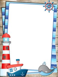 School Board Decoration, Class Decoration, Nautical Invitations, Baby Invitations, Borders For Paper, Borders And Frames, Sailor Baby Showers, Free Printable Stationery, Picture Composition