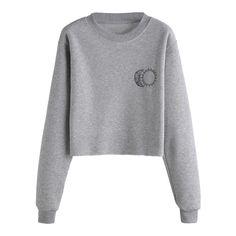 Grey Sun Moon Print Long Sleeve Sweatshirt (401.535 VND) ❤ liked on Polyvore featuring tops, hoodies, sweatshirts, grey, grey sweatshirt, long sleeve tops, patterned sweatshirt, gray pullover and grey top