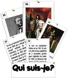 Rituel en histoire : Qui suis-je ? Could do as warm-ups each day, or a matching activity/game!