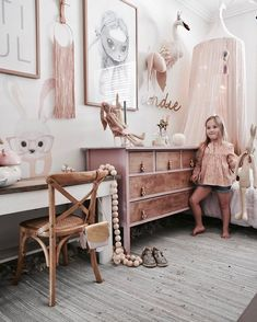 Girl's room are identically to frilly beds and pink decors everywhere. Today's girl's rooms are varied based on each girl's personality - Farmhouse Girls Room Decor Diy Room Decor For Girls, Pink Bedroom For Girls, Little Girl Rooms, Trendy Bedroom, Pastel Bedroom, Room Girls, Girl Room Decor, Childrens Bedrooms Girls, Pastel Girls Room