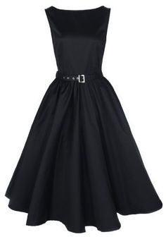 Lindy Bop Vintage 50S Audrey Hepburn Style Swing Party Rockabilly Evening Dress Black Small