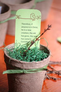 Spring party favor made from a peat pot. I love this idea.