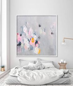 Large wall art, abstract print up to 40x40 of abstract painting, Giclee print, Grey Pink  Title: Sparkles 06  This is a limited edition fine art giclee print, up to 40x40 .  Sizes Available: ROLLED IN A TUBE PAPER OR CANVAS 16x16 (40x40 cm) 20x20 (50x50 cm) 24x24 (60x60 cm) 30x30 (75x75 cm) 36x36 (90x90 cm) 40x40 (100x100cm)  READY TO HANG CANVAS 40x40 (100x100cm) - Stretched on 0,8 width wooden bars - white border FRAME NOT INCLUDED: The frame you see in the picture is only for illustrative…