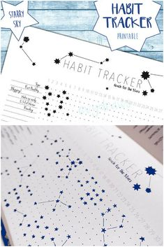 "Love this idea for bujo habit tracker! So pretty. This unique habit tracker printable lets you doodle stars for each daily habit you're tracking - leaving you with a starry sky pattern in your bullet journal or planner at the end of the month! And you can just print it out and stick it in to save time. Habit Tracker ""Starry Sky"" Bujo Printable 