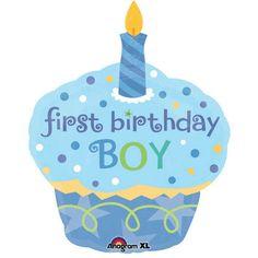 Sweet Little Cupcake Boy Super Shape 1st Birthday