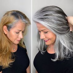 Hairdresser-Gray-Hair-Makeovers-Jack-Martin Long Gray Hair, Silver Grey Hair, Silver Hair Colors, Curly Gray Hair, Silver Color, Grey Hair Transformation, Grey Hair Inspiration, Gray Hair Highlights, Gray Hair Growing Out