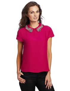 Magaschoni Women's Embellished Collar Blouse « Clothing Impulse