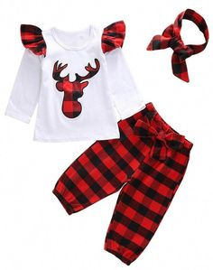 a97316bc3bcd Long sleeve white shirt with plaid deer and ruffle shoulders with red and  black plaid pants and a matching headband. Moda KidsBaby Girl ...