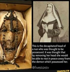 It was thought that by removing her head she would be able to rest in peace away from the demon which possessed her. Creepy Facts, Fun Facts, Short Creepy Stories, Funny Instagram Memes, Mysterious Events, Weird Pictures, Creepy Photos, Mind Blowing Facts, History Facts