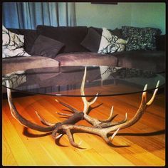 Naturally Shed Deer Antler & Round Glass Coffee Table