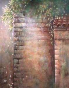 Hand Painted Scenic Background. Brick wall with greenery.