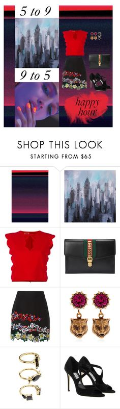 """rush"" by shaskey ❤ liked on Polyvore featuring 3ina, Giambattista Valli, Gucci, MSGM, Noir Jewelry and Jimmy Choo"