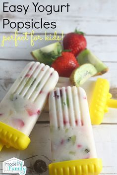 Strawberry Kiwi Yogurt Popsicles