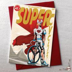 Male Super Cyclist Greetings Cards by wyatt9dotcom on Etsy