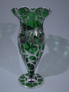 Emerald Glass Vase with Daisy Silver Overlay C 1915