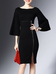 Black Sheath Bell Sleeve Zipper Slit Midi Dress