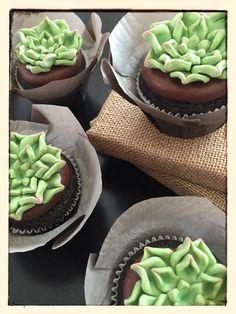 fondant succulent cupcake // chocolate ganache ••• Candy Clay Cupcakes