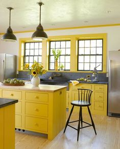 Bright yellow kitchen - New Farmhouse with Classic Style in Connecticut | hookedonhouses.net
