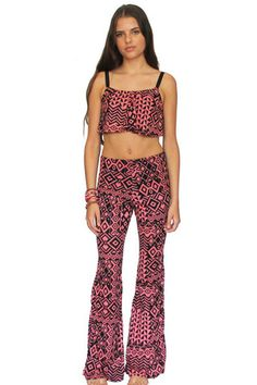 Pink Static Bell Bottoms – Mamie Ruth