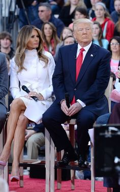 Melania Trump in a white coat and pink heels on the 'The Today Show', 21 Apr 2016
