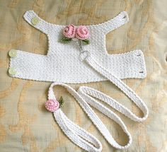 Dog harness with Matching Leash Pet clothing, Dog Harness Dog vest Crochet Dog Harness Dog Vest Small Dog Harness Harness with Lesh BubaDog This dog harness has two beautiful handmade roses on its back . The dog harness is made out of Cream cotton fabric. Care instruction: Machine wash