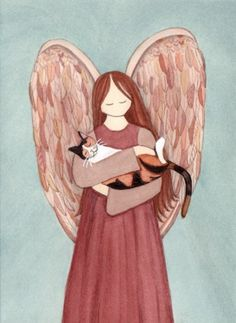 Calico cat cradled by angel / Lynch signed folk by watercolorqueen, $12.99