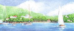 Cruz Bay by Anne Miller, x watercolour print Watercolor Print, Watercolours, Caribbean, Boats, Sea, Gallery, Painting, Ships, Roof Rack