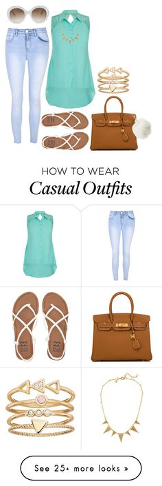 """Casual"" by floralfunk on Polyvore featuring Glamorous, City Chic, J.Crew, Billabong, Hermès, Gucci, Charlotte Russe, LC Lauren Conrad, vintage and Summer"