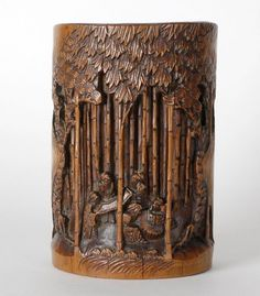 Chinese Carved Brush Pot w. Sages in Bamboo Grove.