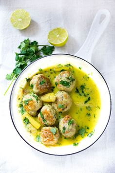 Thai Turkey Meatballs with Lemongrass Coconut Sauce via Feasting at Home #recipe