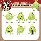 Free! Little Monster Expressions: Happy, Sad, Confused, Sleepy, Proud, Astounded, Scared