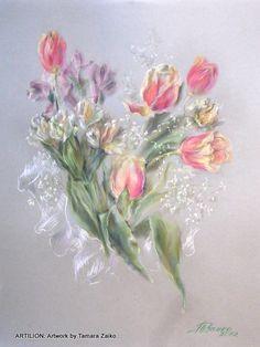 Graphic Arts.Drawing of flowers by painter Tamara Zaiko. Tulips. Still life. Toned paper, pastel.Subject: #artist #artwork #bouquet. Графика как искусство. Тамара Заико. Тюльпаны. Рисунок. Тонированная бумага, пастель. Темы: натюрморт, цветы, букет;