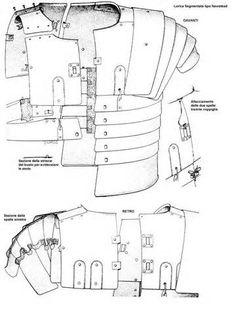 Lorica segmentata - Armadura de láminas - Legiones romanas (época imperial) - Esquema Molle Gear, Roman Armor, Roman Legion, Armor Clothing, Roman Soldiers, Knight Armor, Ancient Rome, Fantasy Characters, Leather Craft