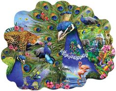 Proud Peacock Shaped Jigsaw Puzzle by Lori Schory 1000pc SunsOut
