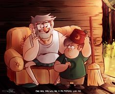 Stan and little Soos. In s2e11 Soos actually said he wanted to be adopted by Stan. Until a few moments later where he, Mabel, and Dipper found out what Stan was hiding.