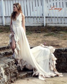 "custom upcycled romantic hippie eco bohemian womens  wedding dress ""flashback romance "". $185.00, via Etsy."