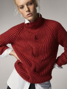 Red, cabled, mock turtleneck