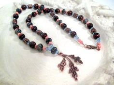 Thunder Oak Necklace  Copper Red Tiger's Eye by FiberWytch on Etsy