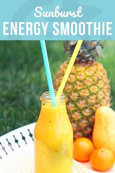 This Sunburst Energy Smoothie Recipe is not only totally tropical and delicious but the ingredients are specifically chosen for both flavor and a boost of energy! Energy Smoothie Recipes, Smoothie Recipes For Kids, Smoothie Packs, Smoothies For Kids, Healthy Smoothies, Healthy Drinks, Healthy Snacks, Healthy Recipes, Milkshake Recipes