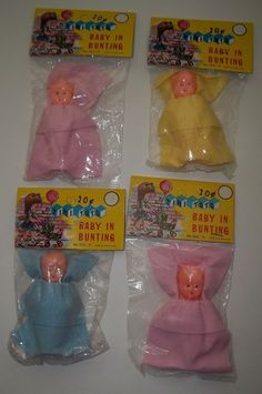 4 Vintage Dime Store Celluloid Plastic Tini Tots Baby In Bunting Baby DOLLS NIP